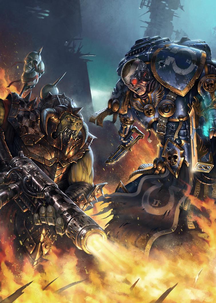 Ultramarine Vs Ork - Warhammer 40k Fan Art by SkavenZverov