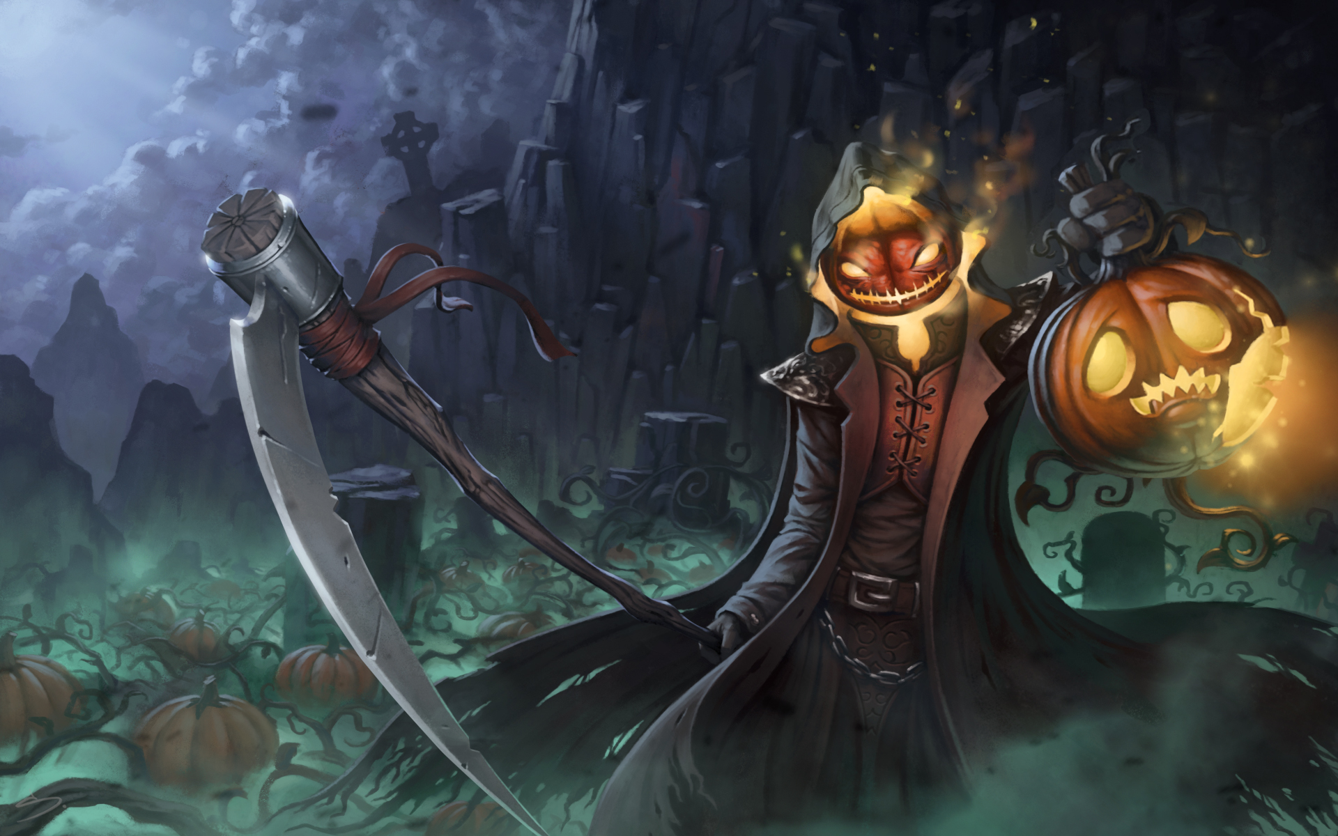 Halloween pumpkin reaper by skavenzverov on deviantart for Awesome pumpkin drawings