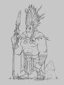 Aztec Warrior - Sketch by SkavenZverov