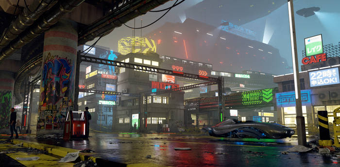 Cyber City at Night Concept Art