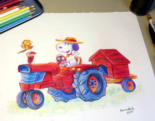 Tractor Snoopy by ImmortalTanuki