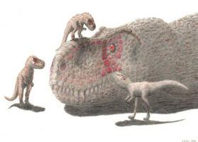 Tyrannosaurus with chicks by Agahnim