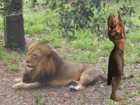 Buff Jungle Girl, with Lion