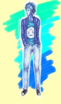 depressive blue boy