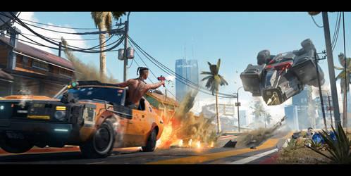 Cyberpunk 2077 Car Chase