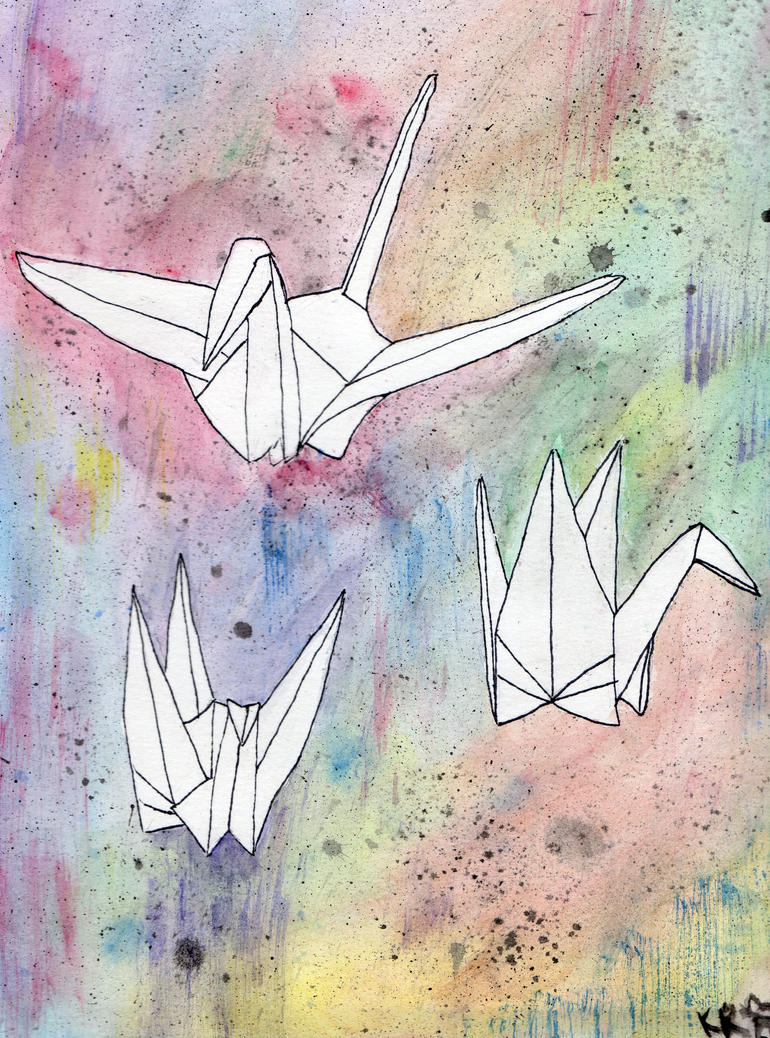 Paper Cranes by awesomekitty