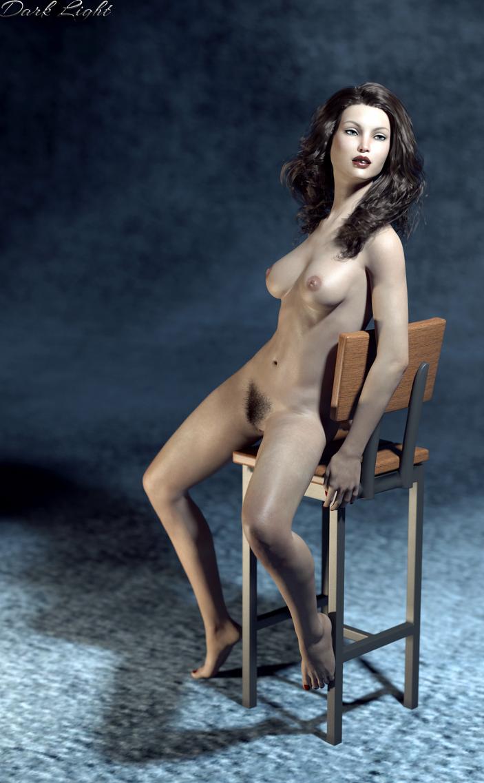 Elisse, Nude on Stool by DarkLightArtistCG