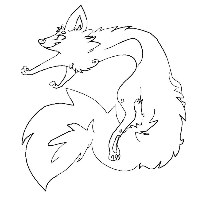 Line Art Fox : Cartoon fox lines by sunnburn on deviantart