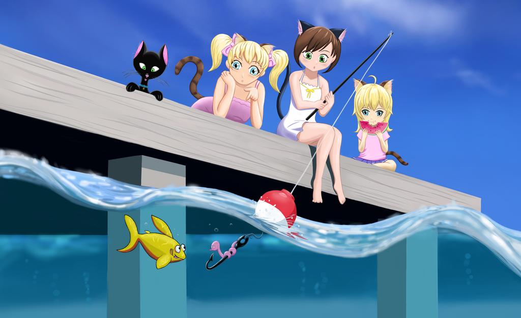 Cat Fishing - Fish Vrs Worm by Goodguy67