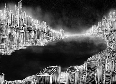 La ville d'Ariz la nuit
