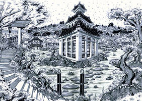 Lost Pagoda (Inked Art) by Janusart