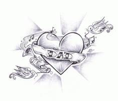Heart N' Banner no colour by daelin-reid