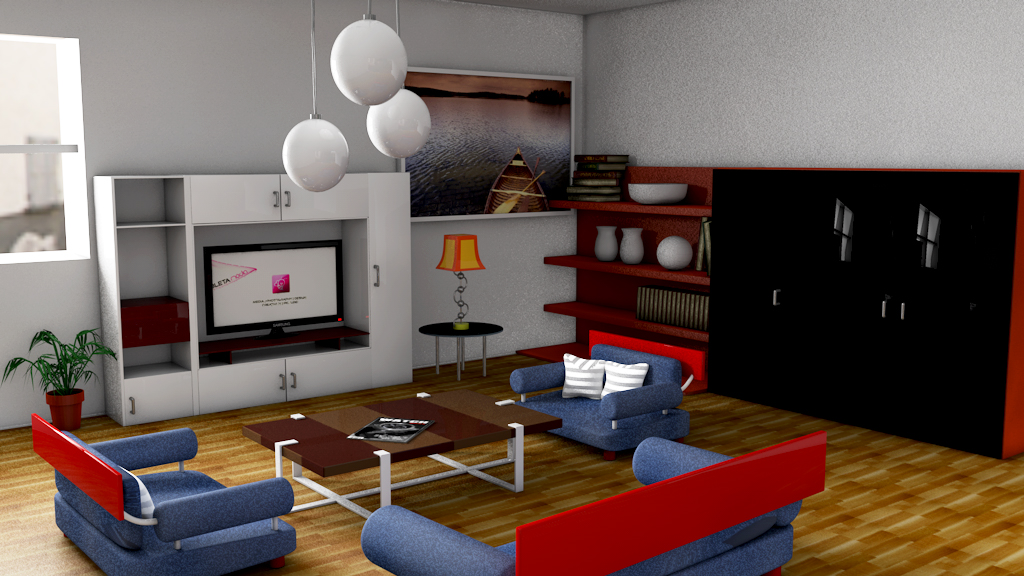 Cineam 4d living room by physicssum on deviantart for Living room cinema 4d