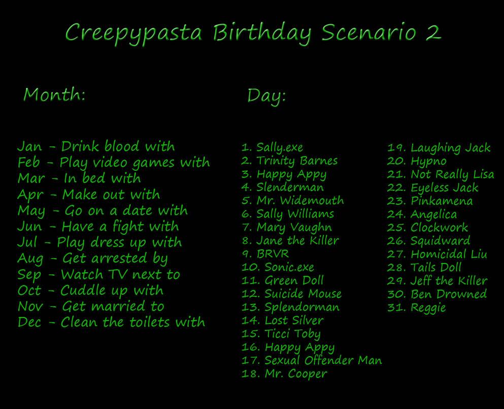Another Creepypasta Birthday Scenario Game by