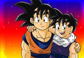 Goku and Gohan by dbzfannie