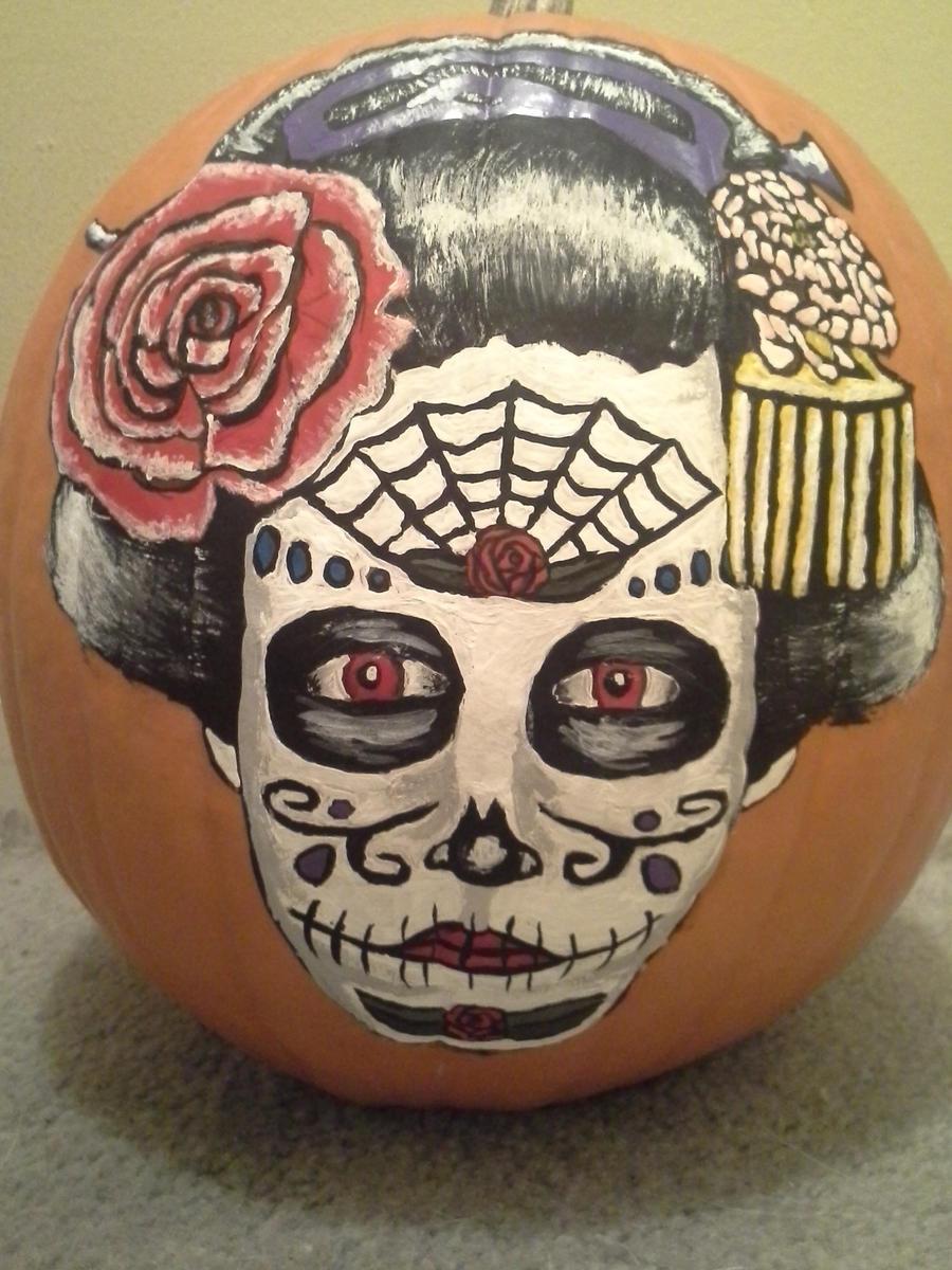 Sugar Skull Geisha Pumpkin by rocknrebel88 on DeviantArt