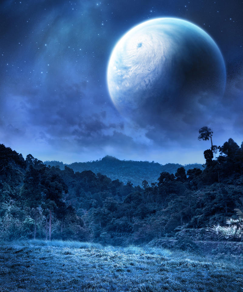 tropical night planet stock by venomxbaby