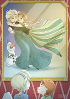 Elsa, Anna and Olaf by Sa91
