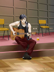 Seiya playing the guitar