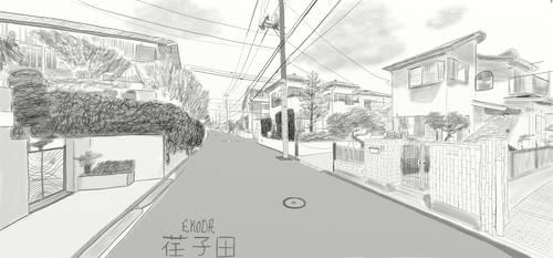Ekoda, Japan - IRL Location Sketch #1 by 3DPhantom