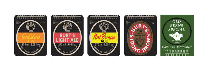Burts 1990s bottle label set by HenryBeauchamp