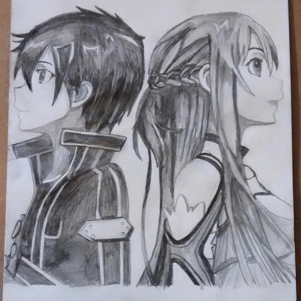 Sword Art Online Sketch Of Asuna And Kirito By Lolliart1