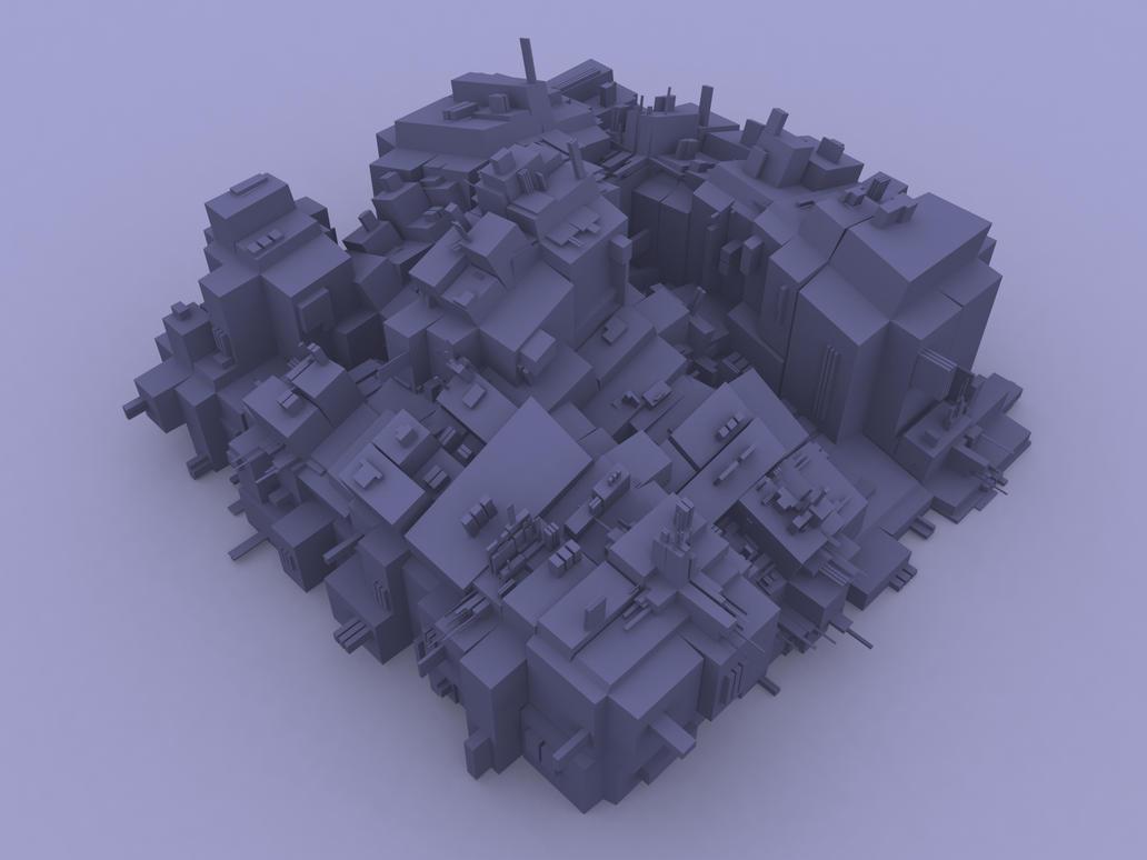 Futuristic city Scape 1 by JvonCreij