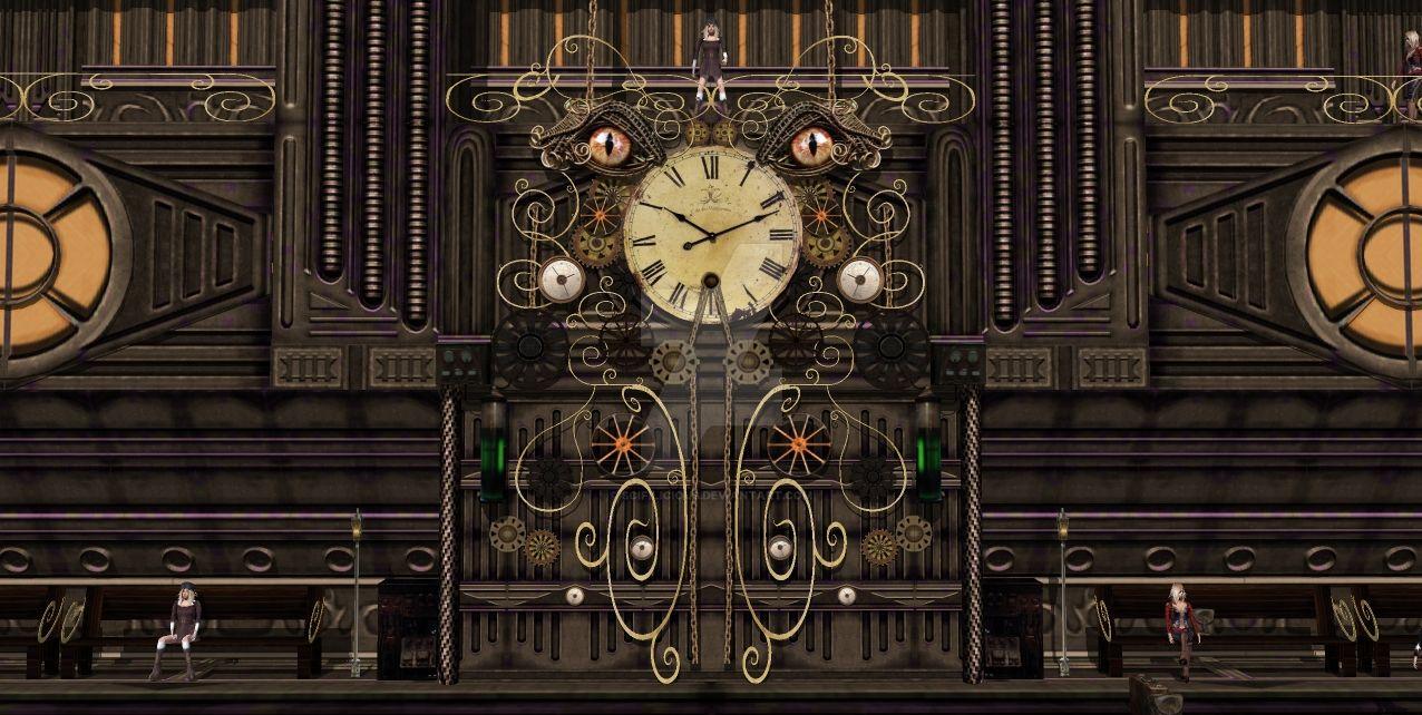 steampunk wall clocktrain station by