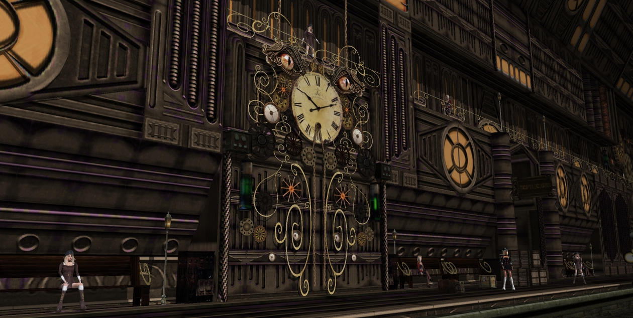 steampunk wall clock train station2 by scifilicious on deviantart. Black Bedroom Furniture Sets. Home Design Ideas