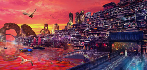 CHINA SUNSET by scifilicious