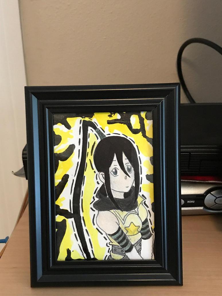 Mixed media Tsubaki framed drawing from Soul eater by Inkkai