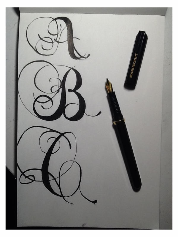 Romantic Style Calligraphy Letters A B And C By WithinTheCosmos
