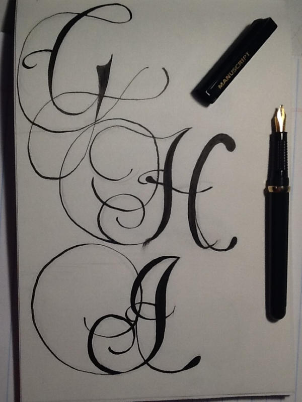 Calligraphy H Calligraphy letters g, h,
