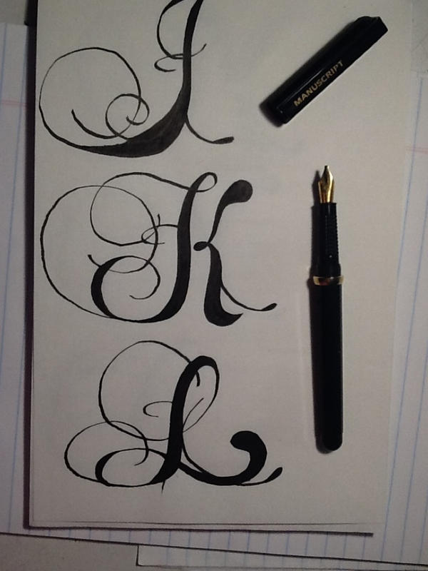 Romantic Style Calligraphy Letters J K L By WithinTheCosmos