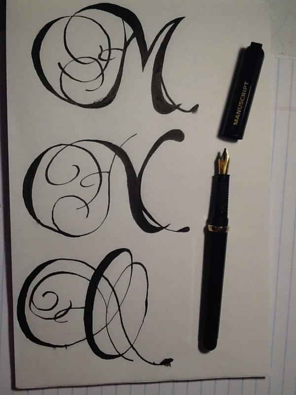 Romantic style calligraphy letters m n o by