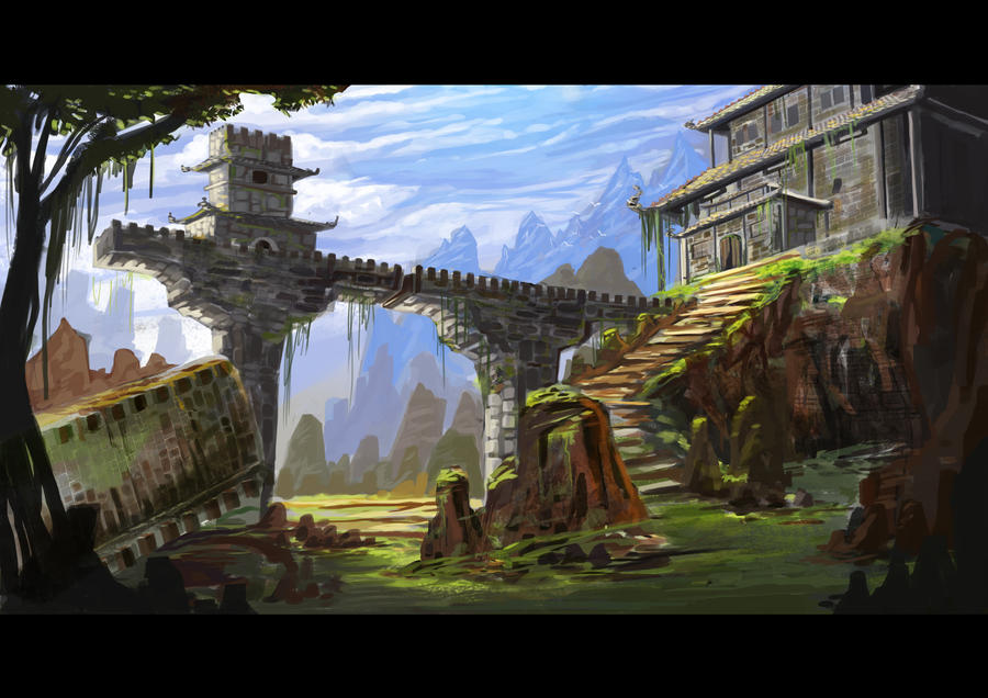 Anime Scenery Forest temple ruins by nichol...