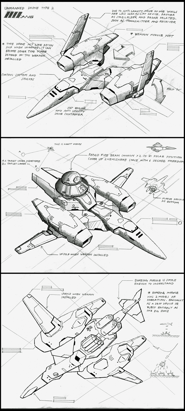 Unmanned drone type2 drawing by 4-X-S