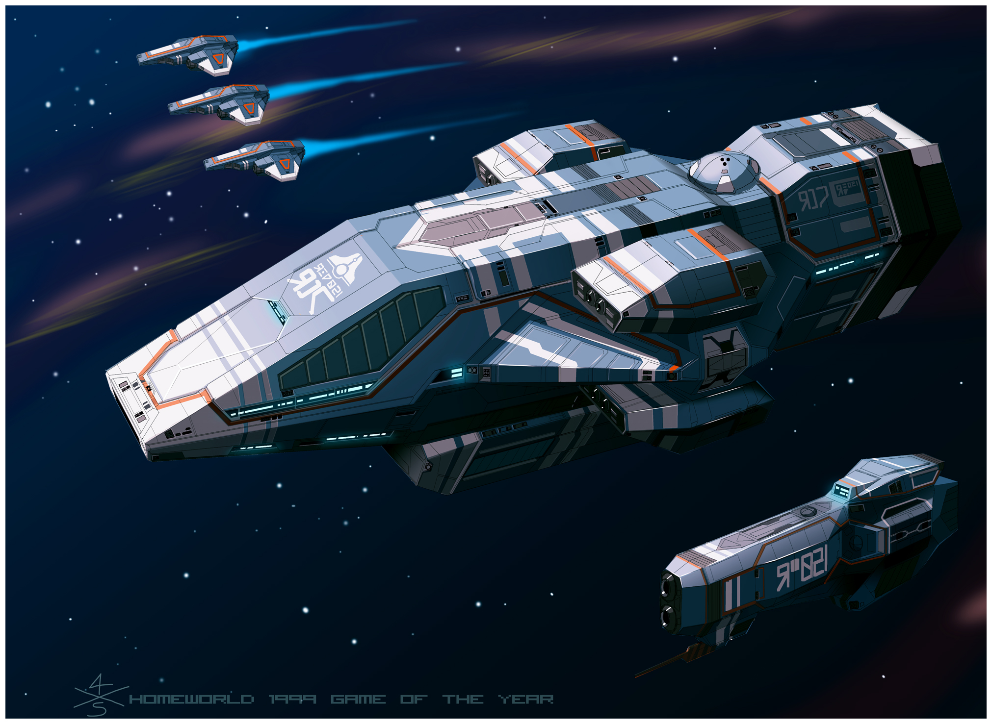Kushan Heavy Cruiser of Homeworld1 [frameA] by 4-X-S