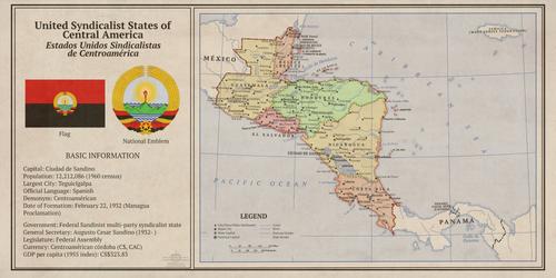 1960 Kaiserreich Syndicalist Central America Map