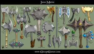 Weapon Sheet: Axes by concept-creature