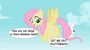 Fluttershy carries Rainbow Dash