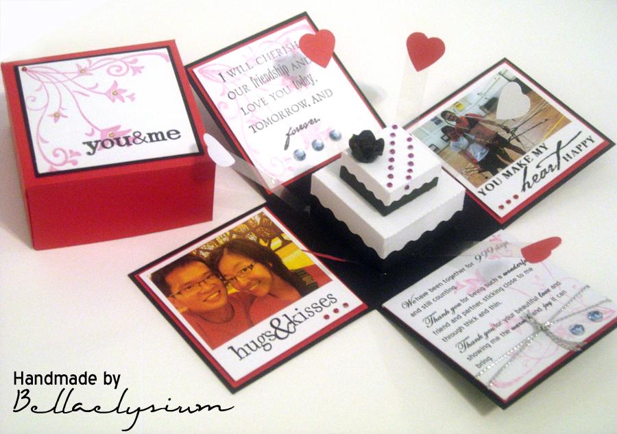 Pin exploding box invitation with 3 tier cake inkpressive invitations