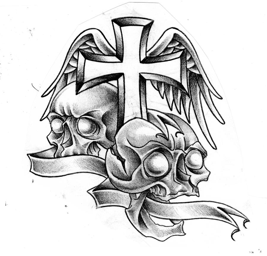 Cross and Skulls by Mr---G-o-n-e