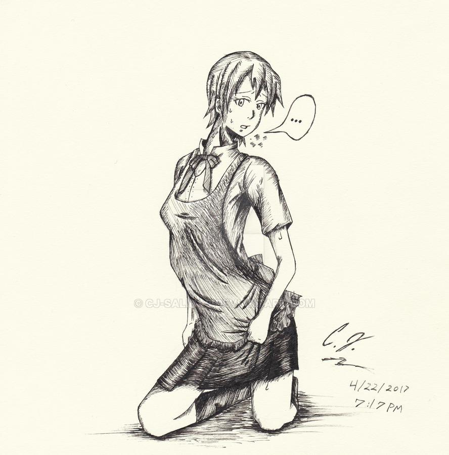 Inami Mahiru Inked Sketch by CJ-Salinas