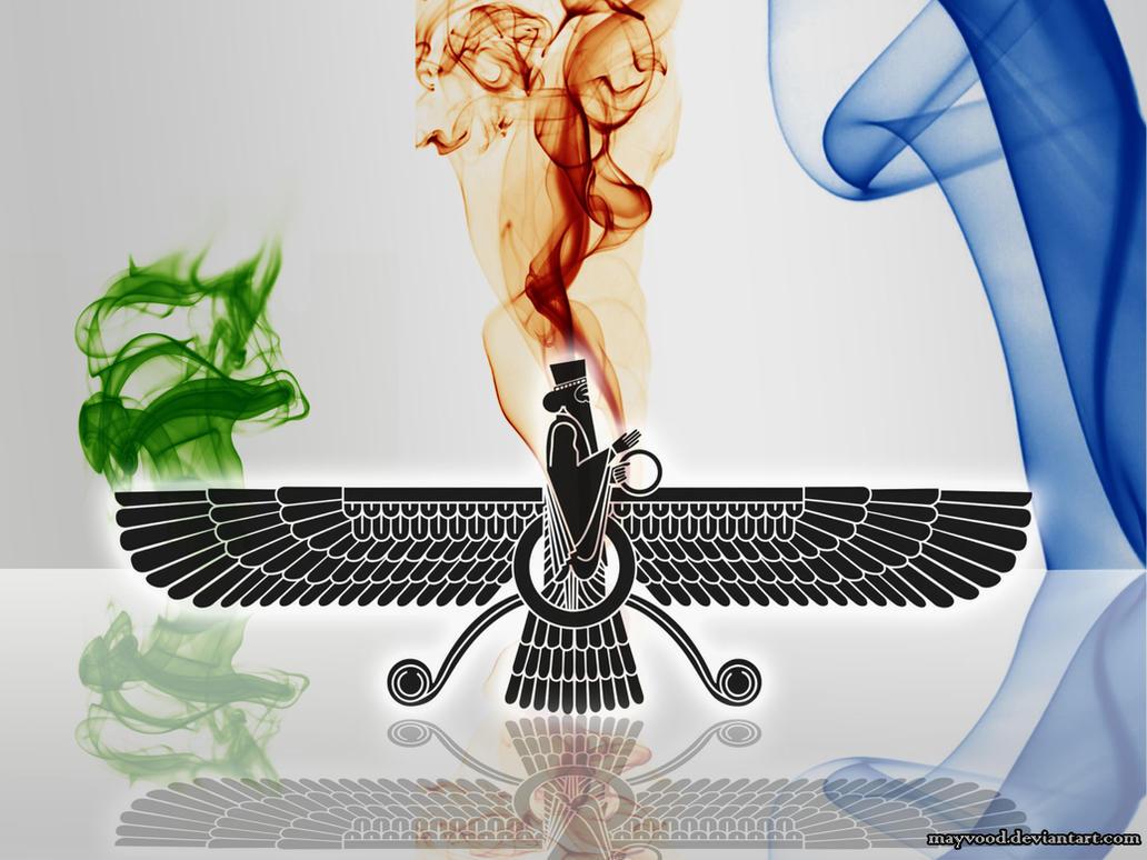 farvahar zoroastrian holy logo by mayvood