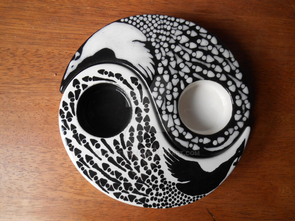 Yin Yang Peacocks Candle Holder by Lalottered