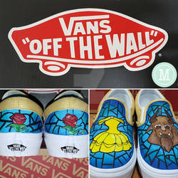 Stained Glass Beauty and the Beast Custom Vans