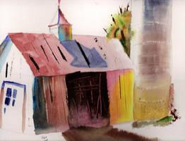 Watercolor Barn by blackbeardpirate