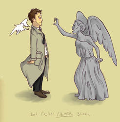 Castiel Vs. Weeping Angels by irezel