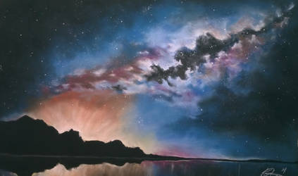 Milky way reflection large soft pastel by kelly6022